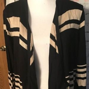 NWT JM COLLECTION Black Beige Striped Cardigan XL